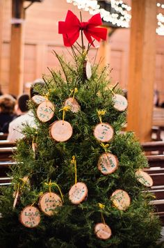guest book idea: have guests sign in on ornaments to hang on the tree each year! // photo by MatthewMoorePhotography.com