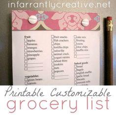 Printable custom grocery list gift