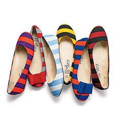 Striped Ballet Flats | SouthernLiving.com games, bees, footwear, lillybee flats, ballet flats, football season, blues, gameday gear, school colors