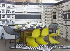 Pantone Fall 2013 Color Trend: Linden Green - an eclectic mix of old and new furniture in this dining room