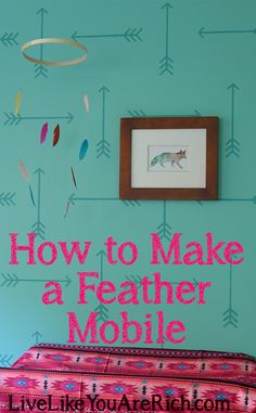 DIY Feather Baby Mobile-Quick, Easy, and Inexpensive.