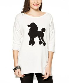 Loving this White & Black Poodle Boatneck Top on #zulily! #zulilyfinds