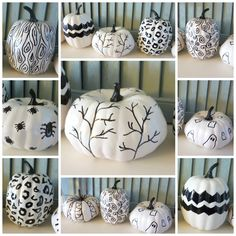Black and White Hand Sketched Sharpie Pumpkins nade from fake Dollar Store Pumpkins with full tutorial at thehappyhousie
