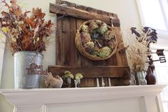 Thanksgiving Fall Mantel