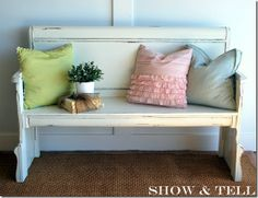 Love this re-purposed headboard