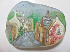 Miniature art on English sea glass - Original acrylic painting