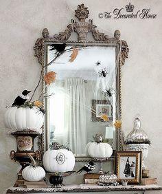 The Decorated House: ~ Halloween Decor :: Vintage Antique Books. Mercury Glass. Black & White Pumpkins Painted and Velvet.
