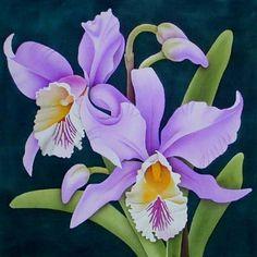 Silk Painting Cymbidium Orchid