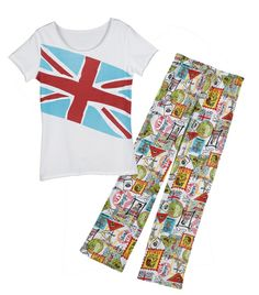 Travel Postcard pajamas - with a British theme. Look comfy.