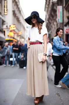 DO a neutral maxi skirt with a colorful belt and rolled sleeve loose tee long dresses, summer styles, maxi dresses, cheesy chicken, long skirts, the dress, street styles, derby hats, maxi skirts