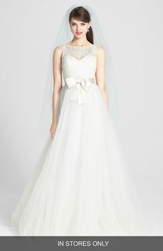 Amsale 'Quinn' French Lace Illusion Bodice Tulle Wedding Dress #weddingdress  #amsale #wedding #bridal #nitsas