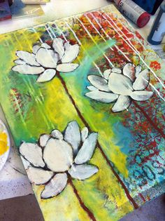 I love lotuses!  I don't know who painted this tho.  It was a student in Donna Downey's class!!