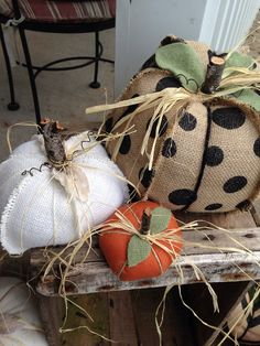 Burlap and fabric pumpkins shabby chic by thelittlegreenbean