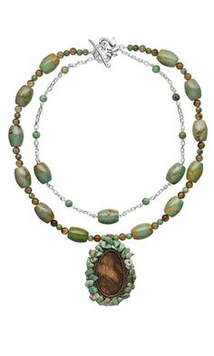 Double-Strand Necklace with Turquoise Beads and Jasper Cabochon