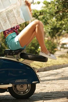 car girls, boat shoes, vespa, girl style, summer road trips, travel, the road, scooter, roadtrip