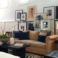 camel, living rooms, frame, living room colors, color schemes, gallery walls, black white, wall galleries, art walls