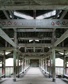 Traditional timber construction of the Dong people in China. Chengyang Bridge