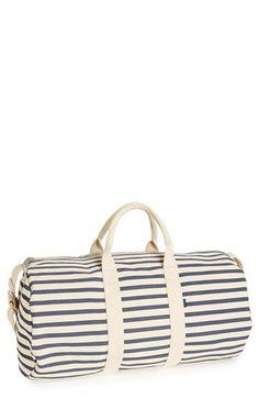 Striped Canvas Duffel Bag