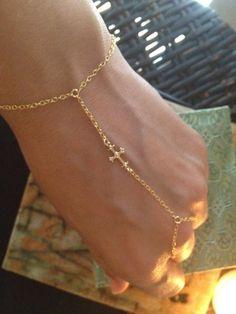Gold Cross Slave Bracelet 14k gold by TheArtsyNomad on Etsy, $39.50 #slavebracelet
