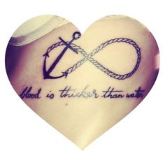 My new ink <3 'blood is thicker than water' anchor infinity tattoo ⚓❤ Tattoo Ideas, Infin Tattoo, Infinity Tattoos, Infinity Tattoo Anchor, Anchor Infinity Tattoo, Quot, Rope Infinity Tattoo, Infinity Anchor Tattoo