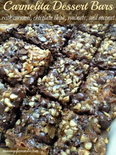 This caramel recipe is a crowd favorite! It's a cookie bar made with caramel, chocolate chips, walnuts, coconut and oatmeal.