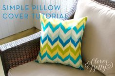 Beginner Sewing Tutorial: Simple Pillow Covers. I need to try this someday.