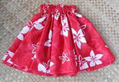 bright red and white hula pau hula skirt Hawaiian by SewMeHawaii, $25.00