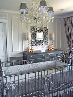 luxury nursery in grey and silver nursery
