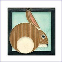 Charley Harper Hare Light Blue Motawi Tile