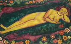Reclining woman with flowers, 1914, Cuno Amiet