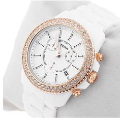 White and gold fossil watch glam