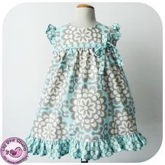 Birthday party dress PDF sewing pattern for intermediate sewers - wide ruffled skirt, ruffled sleeves, high waist, belt - 12 mths to 8 yrs