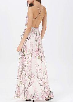 Fine Quality Open Back Floral Dress for Lady   martofchina.com