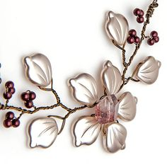 Rusty Red and White Flower Necklace by CherylParrottJewelry, $58.95