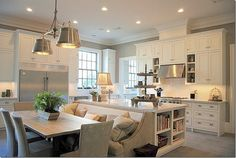 bench, light fixtures, gray walls, banquett, open kitchens, white cabinets, dream kitchens, island, white kitchens