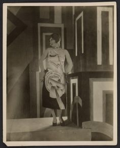 Citation: Gilda Gray wearing a dress designed by Louis Lozowick for the Lord & Taylor centennial, 1926? / unidentified photographer. Louis Lozowick papers, Archives of American Art, Smithsonian Institution.