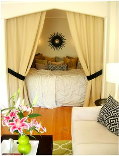 Alcove bed with curtains for privacy