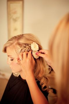 Side swept wedding hair with flowers. Yes please! wedding-inspiration