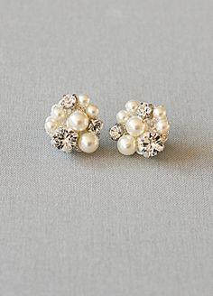 pearl & diamond cluster earrings