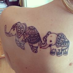 Elephant tattoo mother and son initials