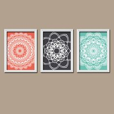 Coral Navy Turquoise Flower Radial Sun Burst Doilies by trmDesign, $25.00  - DIY!!!!!