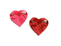 heart crafts, hairbow, valentine day crafts, woven heart, heart tutori