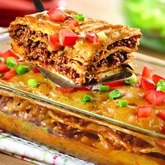 Mexican Lasagna ~   Looks like a quick and easy work night meal.  Finally tried this recipe. If I make it again I think I will add a can of drained black beans.
