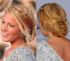 Blake Lively | Hairstyle Just loving that side wept hair and the dazzling braid over there!