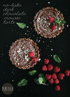 No-Bake Dark Chocolate Mousse Tarts : gluten free, grain free and vegan