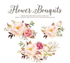 Watercolor floral Clip Art-Romantic Blooms Graphic
