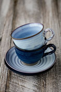 Pottery cups and saucers