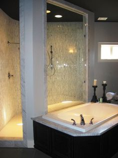 Signature Homes personalized Master Bathroom shower and tub at James Hill in Ross Bridge in Birmingham, AL.