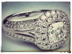 Cushion Diamond Vintage Halo Double Band Engagement Ring
