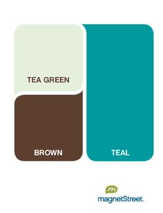 color palette: teal with tea green and brown